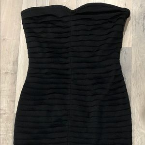 Silence + Noise Tiered Strapless Black Mini Dress